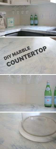 Check out the tutorial: DIY Marble Countertop #DIY #homedecor