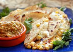Creamy Corn and Bean Quesadillas Gluten-Free and Vegetarian. From It's Not Easy Eating Green.