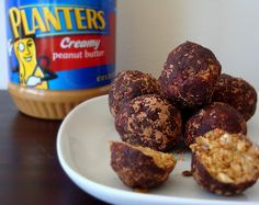 healthy peanut butter balls... this will be fun to try.   (not to be confused with buckeyes.)  :)
