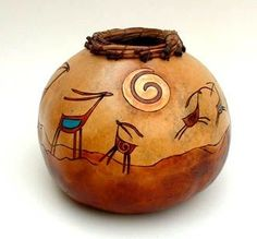 Gourds by Kristy Dial - Yahoo Image Search Results Decorative Gourds, Hand Painted Gourds, Painted Pots, Gourds Birdhouse, Native American Artwork, Gourd Art, Indigenous Art, Ceramic Painting, Indian Art