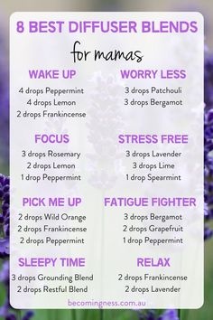 8 Best Diffuser Blends for Mamas These 8 essential oil diffuser blends are guaranteed to help us mam Essential Oil Spray, Essential Oils Guide, Doterra Essential Oils, Essential Oil Diffuser Blends, Mixing Essential Oils, Relaxing Essential Oil Blends, Oils For Diffuser, Doterra Diffuser, Essential Oils Cleaning