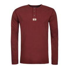 Front image of the Bushmanshop Basher men's red cotton long sleeve t-shirt