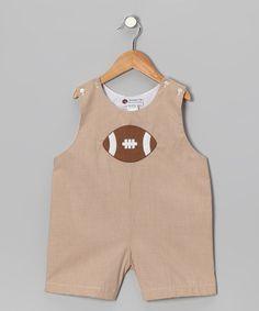 Khaki Gingham Football Shortalls - Infant & Toddler by Smockadot Kids on today! Smart Set, Infant Toddler, Future Baby, Baby Baby, Smocking, Sewing Ideas, Gingham, Children, Kids