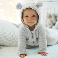 Buy The Little White Company > New Arrivals > Baby Boys Fleece Romper with Ears from The White Company