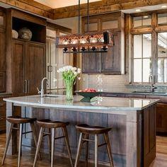 Kitchen Island Chandelier, Rustic Kitchen Island, Kitchen Island Lighting, Kitchen Islands, Rustic Kitchen Design, Farmhouse Kitchen Lighting, Modern Farmhouse, Rustic Design, Kitchen Designs