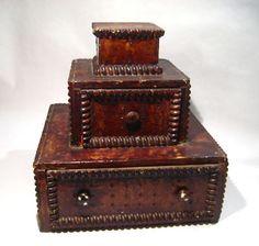 Vintage Folk Art Tramp Art Primitive Stacked Wood Chest Box Hand Crafted   eBay