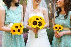 yellow + aqua wedding; love the polka dot dresses