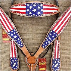 Hilason Western Leather Horse Bridle Headstall Breast Collar Hand Paint US Flag | eBay