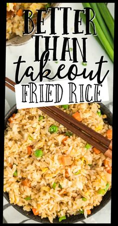 Better Than Takeout Fried Rice This quick and easy fried rice recipe is better than take out. It's restaurant style, but created at home with easy ingredients you'll have on hand. It comes together so fast and it's so filling. Easy Rice Recipes, Side Dish Recipes, Easy Dinner Recipes, Asian Recipes, Easy Meals, Cooked Rice Recipes, Arabic Recipes, Chinese Recipes, Vegetarian Recipes