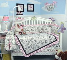 SOHO Princess Hailey Toile Crib Nursery Bedding Set with diaper bag 14 Pieces Set