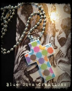 Polka Dot Print Wood  Cross Necklace by bluedivacreations on Etsy, $8.00