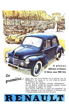 affiche ancienne publicit 4 cv renault vintage perso fr autos los cl sicos. Black Bedroom Furniture Sets. Home Design Ideas