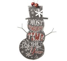 Snowman Chalkboard Sign - It's the most wonderful time of the year
