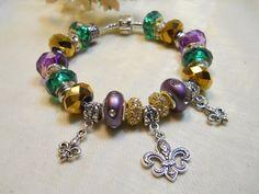 Mardi Gras Charm Bracelet European Style by TheresACharm4That