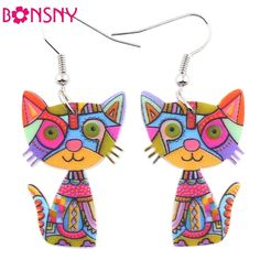 Bonsny Drop Cat Acrylic Earrings Big Long Dangle Earring 2016 Fashion Jewelry For Women Girl New Style Cute Animal Accessories -- You can find out more details at the link of the image.