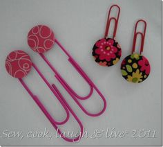 Cover buttons and paper clip bookmarkers