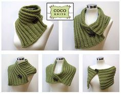 Knitted cowl five ways (free pattern)