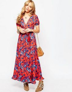 ASOS Tea Maxi Dress With Wrap Front in Paisley Print