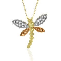 "10K Yellow, Rose and White Gold Dragonfly Pendant/Necklace with 18"" Chain"