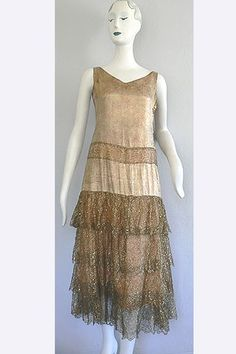 Late 1920s Gold Lame' and Gold Lace Dress