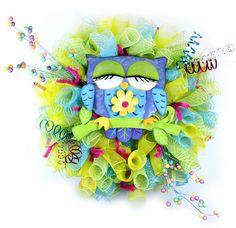 Owl Deco Mesh Wreath