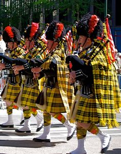 The New York National Tartan Day Parade was held today featuring pipe bands, individual pipers and drummers, kilted men, Scottish group.