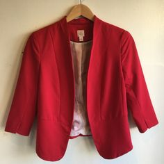 Red Blazer Bright red blazer in perfect condition - only worn a few times K94 LC Lauren Conrad Jackets & Coats Blazers