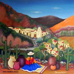 Artwork by Ana Maria Nale, Argentina Mexican Artwork, Mexican Paintings, Mexican Folk Art, Mexican Pictures, Arte Latina, Disney Canvas Art, Peruvian Art, Latino Art, Art Optical