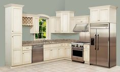 Cumberland Antique White Kitchen Cabinets - RTA Kitchen Cabinets