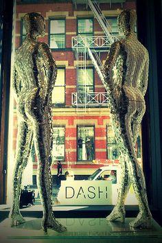Metallic mannequins in the window