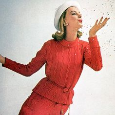 https://flic.kr/p/9GNLBw | 1960 | Wearing a cable-knit two piece outfit by Robert Sloan for Harper's Bazaar, photographed by Gleb Derujinsky.