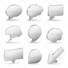 Speech Bubbles  #GraphicRiver         Set 3D Speech and Thought Bubbles and Arrow, easy to change colors, vector illustration. File saved as EPS 10 . Use transparency effects and different blending modes to add volume and create shadows. Archive file contains EPS and bitmap higher resolution (5000 px on the larger side).     Created: 7December12 GraphicsFilesIncluded: JPGImage #VectorEPS Layered: Yes MinimumAdobeCSVersion: CS Tags: 3d #arrow #balloon #bubble #business #chat #cloud #comment…
