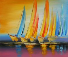 Long sweeping brushstrokes and brilliant colors characterize this uplifting wall art to create a scene of recreation and fun. Good weather and good times as this group of boats race across the calm wa