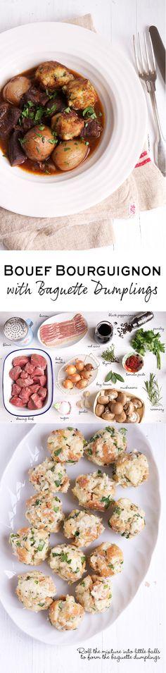 Bouef Bouguignon (Beef Burgundy) with Baguette Dumplings. A delicious recipe adapted from The Little Paris Kitchen by Rachel Khoo | eatlittlebird.com
