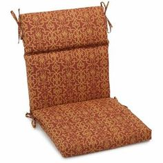 Blazing Needles Patterned Spun Poly Outdoor Three-section Back/Seat Chair Cushion (Vanya Paprika (Red) Outdoor Cushion Adirondack Chair Cushions, Custom Outdoor Cushions, Outdoor Lounge Chair Cushions, Wicker Chairs, Patio Chairs, Outdoor Chairs, Indoor Outdoor, Outdoor Fabric, Outdoor Living