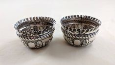 Pair of Victorian sterling salt cellars, repousse & chase work; Birmingham, England by tlgvintageart on Etsy