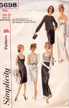 60s Simplicity 5698 Sheath Dress Cocktail Gown Overblouse Pattern Size 12 Bust 32 inches UNUSED FF