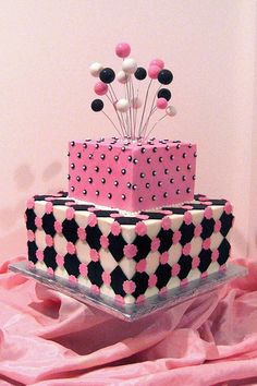 Pink and Black Birthday Cake Square. I think I would do a fondant bow on top rather than what is there?