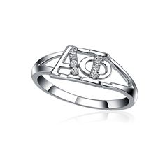Alpha Phi Horizonal Silver Ring [AP-R001] - $35.00 : Greek Star
