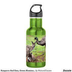 Kangaroo And Emu, Green Aluminum Water Bottle. 532 Ml Water Bottle