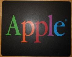 $19.95 2009 Vintage Apple Mousepad for Macintosh- Rare and Collectible! Vintage genuine Apple brand mousepad, very nice clean collectible condition! Beautiful colored Apple letters on black background! Perfect f
