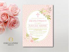 Primera invitación de la comunión, bautismo, imprimibles - primer DIY, Floral invitación comunión, religiosos, rosa