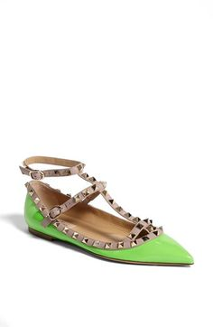 Please, Lord, deliver these Valentino 'Rockstud' Double Ankle Strap Ballet Flats to me. 42, please.