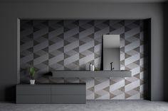 Fusilli überzeugt durch eine klare Geometrie. Die kontinuierliche Abwechslung der warmen Brauntöne lässt den Charme des Art Deco auch im Bad erleben.  #thebathfashionst #wedressyourbath #rebado2020  +++ Neue Kollektion 2020 +++  Mit der ASPERO Kollektion erweitert rebado seine Oberflächenserie mit innovativen Designs. Die neue Oberflächenkollektion ist unverkennbar: geometrische Architekturdetails, fantastische Ornamentmuster oder geheimnisvolle Dschungelmotive sorgen für magische Räume. Fusilli, Art Deco Design, Designs, Bad, Bathroom Lighting, Mirror, Inspiration, Furniture, Home Decor