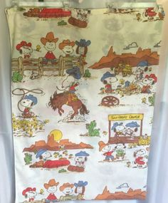 Vintage-Peanuts-Gang-Twin-Flat-Top-Bed-Sheet-Cowboy-Western-Charlie-Brown-Snoopy