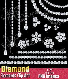 Diamond Clip Art Diamond clipart overlays Gems por PaperArtbyMC