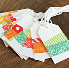 Party Gift Tags Colorful Washi Tags Hang Tags by MariaSoleil.