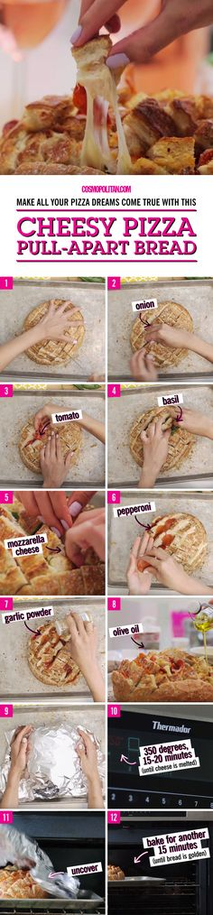 SUPER BOWL SUNDAY PARTY FOOD: Your Super bowl party guests will go crazy for this delicious and fun pull apart cheesy pizza bread dish. Here you'll learn how to make this party snack and appetizer in no time. Click through for the full recipe and find more Super bowl food and drinks ideas and Cosmopolitan.com.
