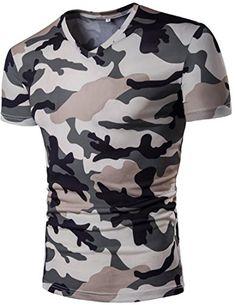 b2e65a38 Jaycargogo Men's American Camouflage Print V-Neck Casual T-Shrits Top  Blouse. #