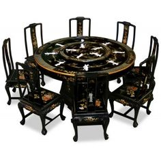 French Cherry Round Dining Table With Build In Lazy Susan